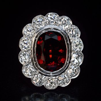 Antique garnet and diamond cluster ring