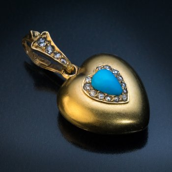 Antique heart shaped turquoise, diamond and gold locket pendant - Victorian jewelry