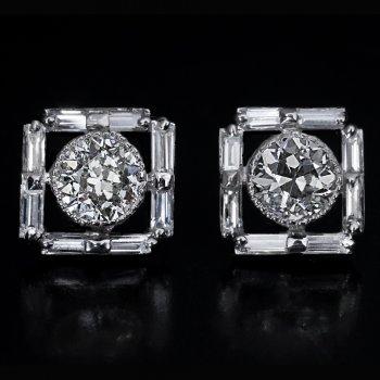 Vintage Art Deco diamond platinum stud earrings
