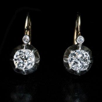 Old mine cut diamond antique earrings