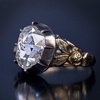 Antique old rose cut diamond ring