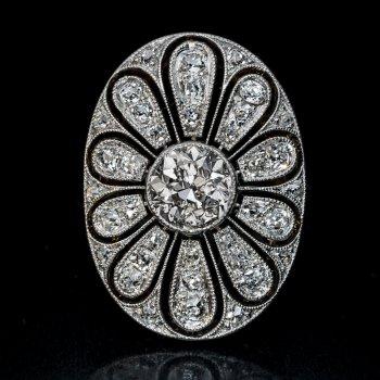 Antique diamond, platinum, gold openwork ring