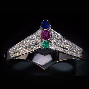 Art Deco tiara shaped sapphire, ruby, emerald and diamond bangle bracelet