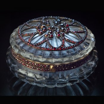 Antique Bohemian garnet and crystal jewelry box