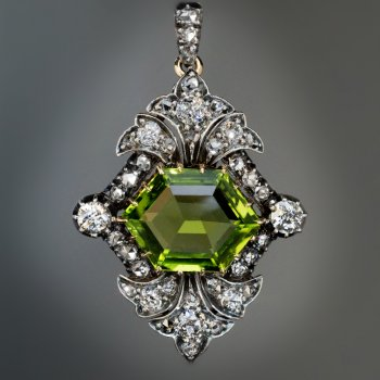 Antique 19th century peridot and diamond pendant necklace