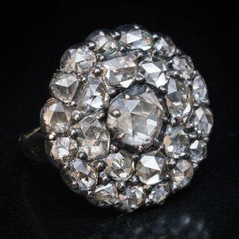 19th century antique rose cut diamond ring