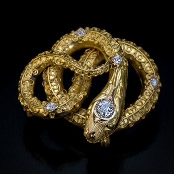 Antique Victorian gold and diamond snake brooch pin