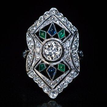 Art Deco openwork platinum diamond ring