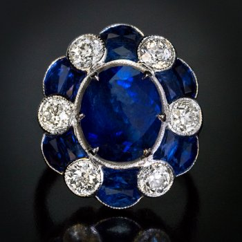 Art Deco vintage sapphire and diamond ring