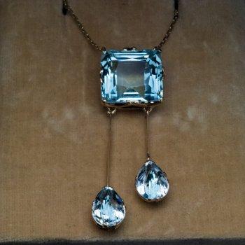 Antique aquamarine gold necklace
