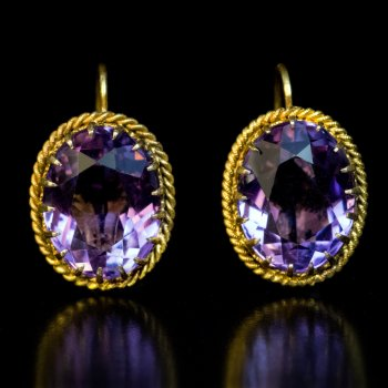 Antique Victorian amethyst and gold earrings