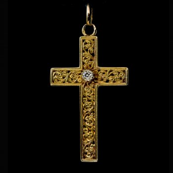 Antique carved gold and diamond cross pendant c. 1880