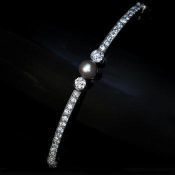 Antique Belle Epoque pearl and diamond bracelet