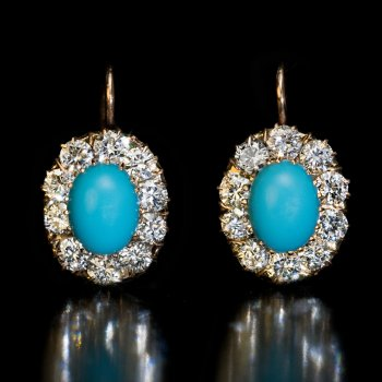 Antique turquoise and diamond cluster earrings