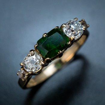 Old mine cut Russian demantoid and diamond ring