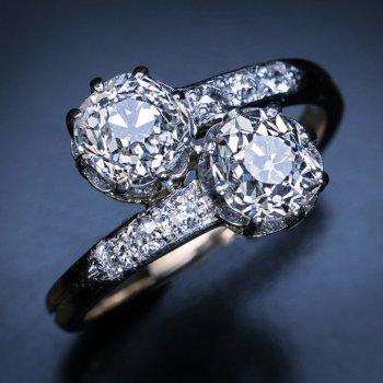 Antique French Toi Et Moi Diamond Engagement Ring