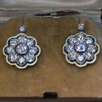 Antique 4.10 ct diamond cluster earrings