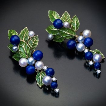 Vintage plique a jour enamel, gold, lapis, pearl, diamond earrings