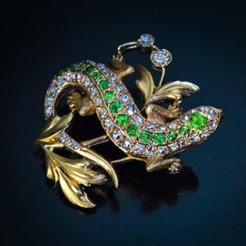 Art Nouveau antique gold, demantoid and diamond lizard brooch