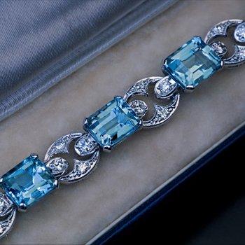 Art Deco vintage aquamarine diamond platinum bracelet
