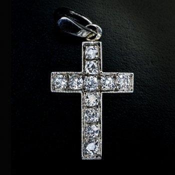 Art Deco vintage diamond cross pendant