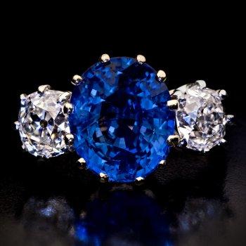 Natural unheated Ceylon sapphire and diamond engagement ring