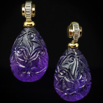 Art Deco vintage carved amethyst baguette diamond earrings