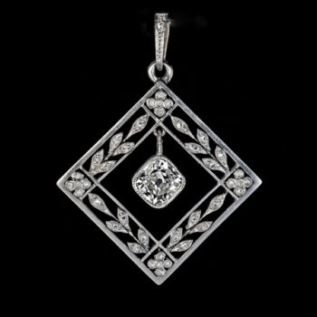 Belle Epoque antique Edwardian diamond platinum gold pendant necklace