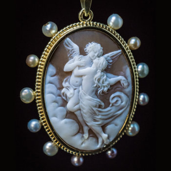 antique shell cameo pendant Cupid and Psyche