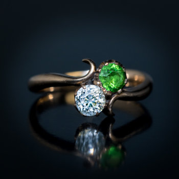 antique demantoid and diamond engagement ring