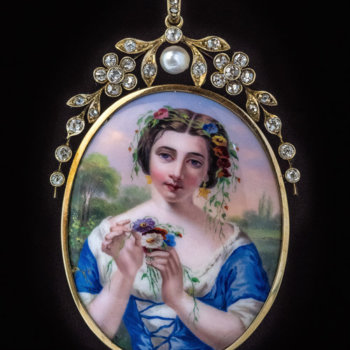 antique Swiss painted enamel pendant