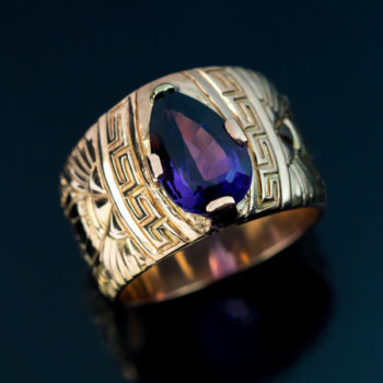 wide band gold and amethyst ring