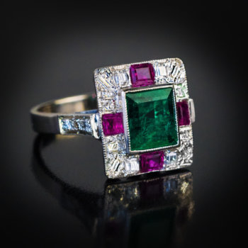 Art Deco emerald ruby diamond ring
