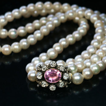 antique pearl necklace with diamond and tourmaline clasp