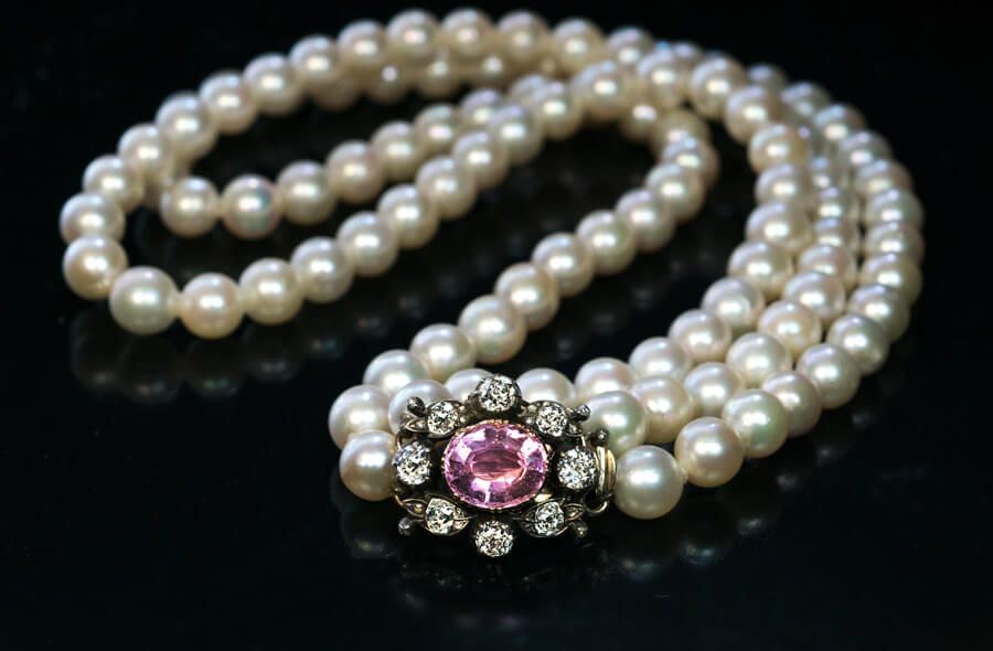 Antique Double Strand Pearl Necklace With Jeweled Clasp