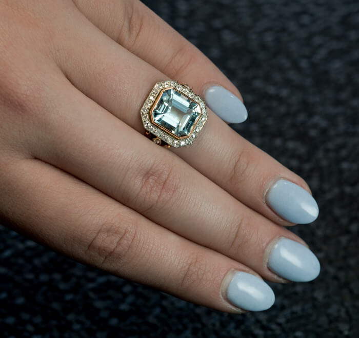 Vintage Art Deco Aquamarine Diamond Engagement Ring