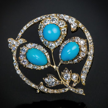 antique Victorian era Russian turquoise diamond gold brooch
