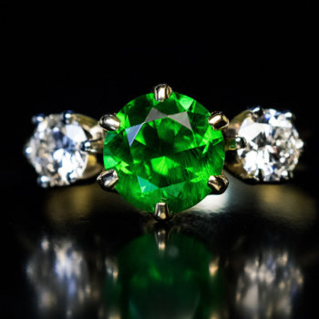 Russian 1.67 ct demantoid garnet ring