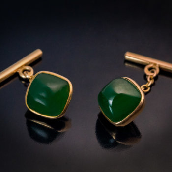 antique gold mounted nephrite jade cufflinks