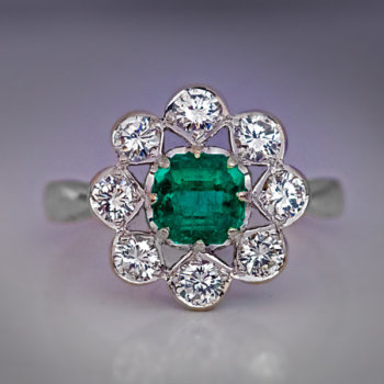 vintage emerald diamond engagement cluster ring