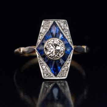 early art deco antique French diamond and sapphire engagement ring