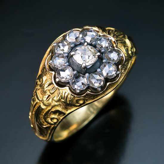 1840s Early Victorian Era Chased Gold Diamond Men s Ring Antique