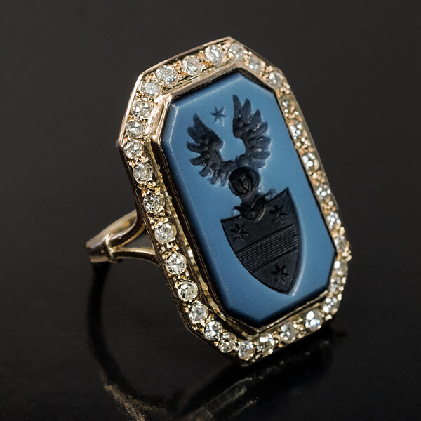 Vintage Carved Agate And Diamond Armorial Signet Ring