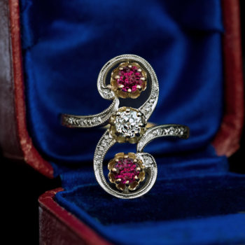 Belle Epoque antique diamond ruby ring