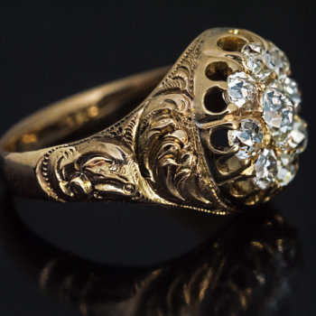 carved gold Victorian antique diamond ring