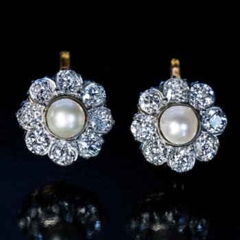 Antique pearl and diamond cluster earrings