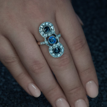 antique sapphire diamond long ring