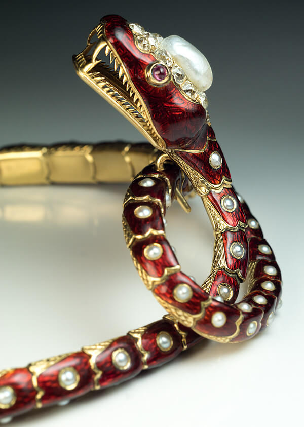 Antique Gold Enamel Pearl Diamond Snake Necklace