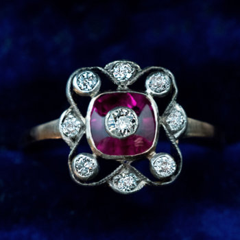Edwardian synthetic ruby and diamond ring