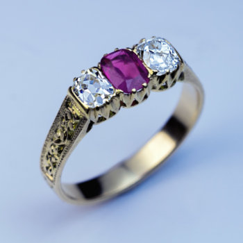 Victorian antique ruby diamond ring